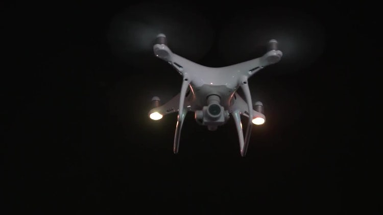 Drone Flying At Night: Stock Video