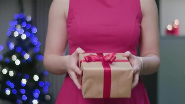Woman Holding A Gift Box: Stock Video