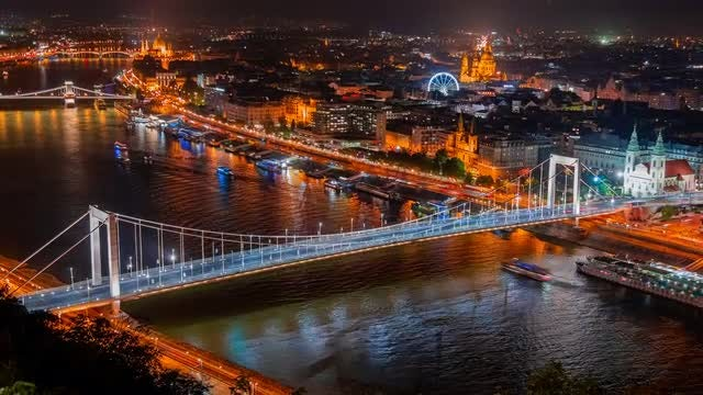 Night Time-lapse Zoom Out Of Budapest: Stock Video
