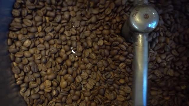 Coffee Roasting Machine With Beans: Stock Video