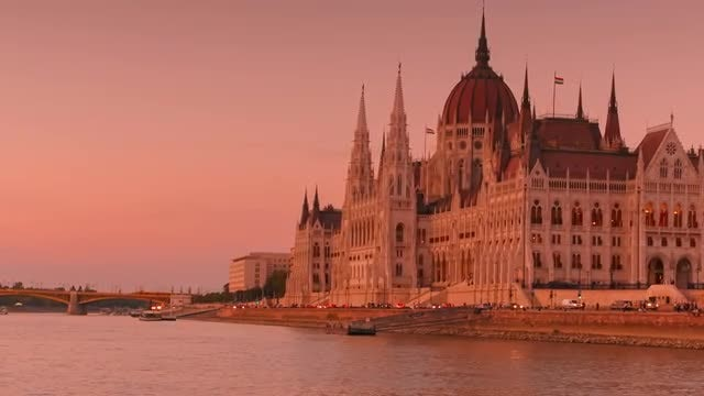 Wide Angle Shot Of Budapest Parliament: Stock Video