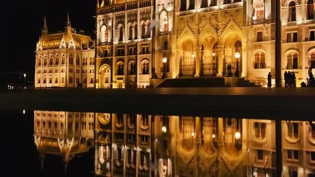 Hungarian Parliament At Night: Stock Video