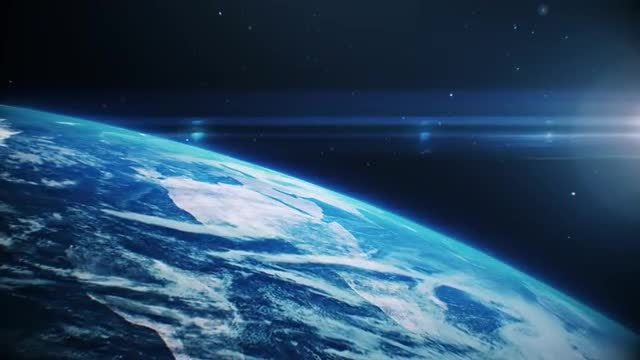 Blue Earth Surface From Space: Stock Motion Graphics