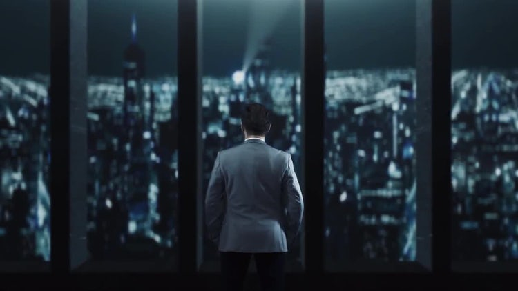 Businessman Staring Out Over City: Stock Motion Graphics