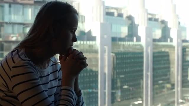 Sad Woman Engrossed In Thought: Stock Video