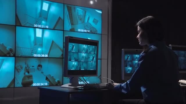 Security Officer Monitoring Surveillance: Stock Video
