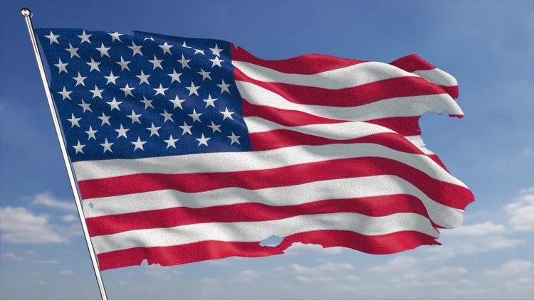 4K USA Torn Flag: Motion Graphics