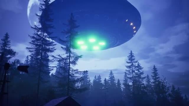 UFO Over Farmhouse: Stock Motion Graphics