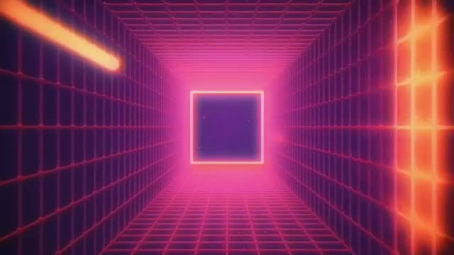 Retro Wave Shiny Grid VJ Loop: Stock Motion Graphics