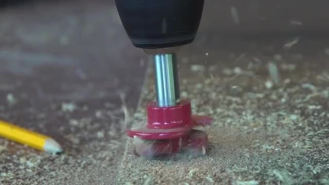 Electric Drill Working On Wood: Stock Video