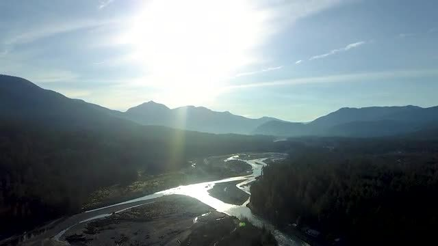 Aerial Shot Of Mountain River: Stock Video