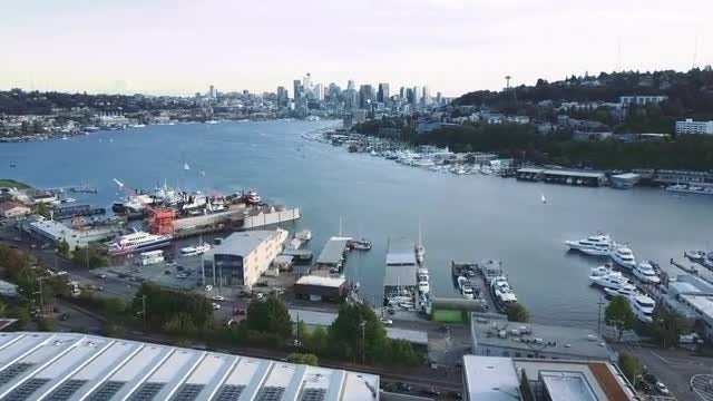 Aerial Shot Of Downtown Seattle: Stock Video