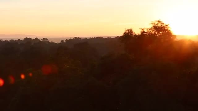 Aerial View Of Red Sunrise: Stock Video
