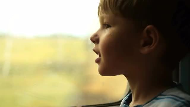 Boy On A Moving Train: Stock Video