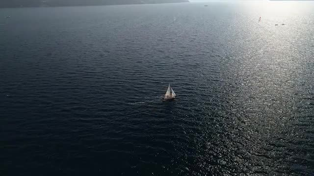 Boat Sailing As Evening Falls: Stock Video