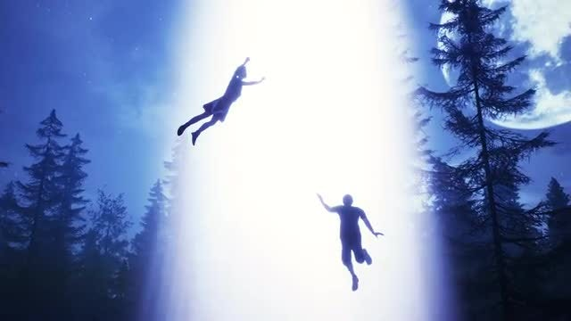 People Suspended In UFO Light Beam: Stock Motion Graphics