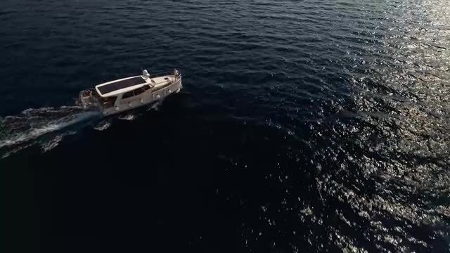 Aerial Shot Of Yacht Sailing: Stock Video