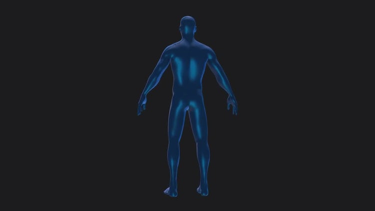 Blue Human Body Rotation Alpha: Motion Graphics
