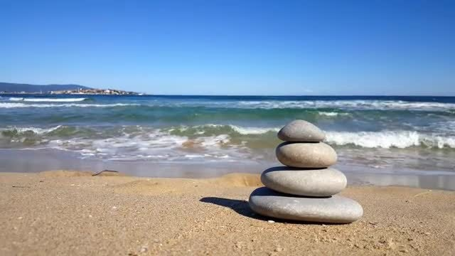 Zen Stones On The Beach: Stock Video