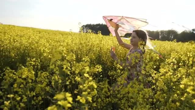 Girl With Kite Runs Outdoors: Stock Video