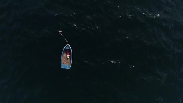 Fishing Boat Floating In Sea: Stock Video