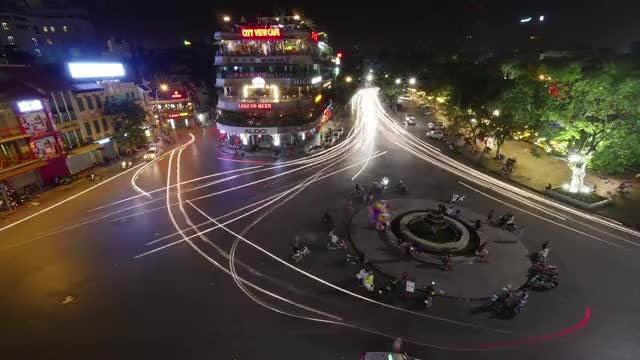 Vietnam City Square At Night: Stock Video