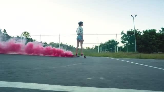 Girl Riding A Skateboard: Stock Video