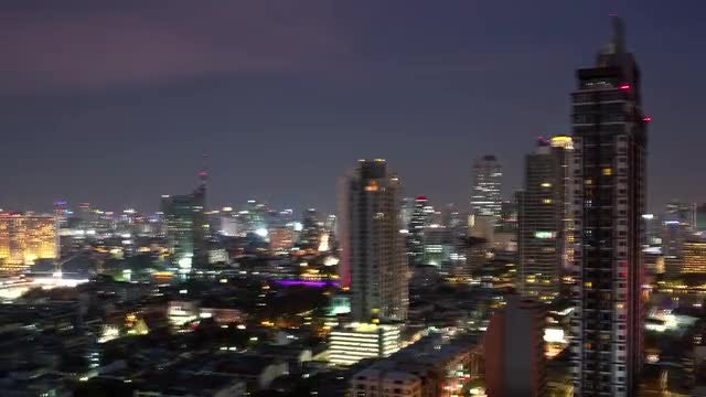 Bangkok City Lights At Night: Stock Video