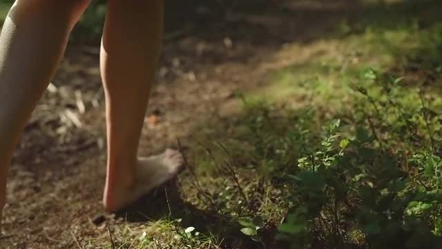 Woman Walking In The Woods: Stock Video