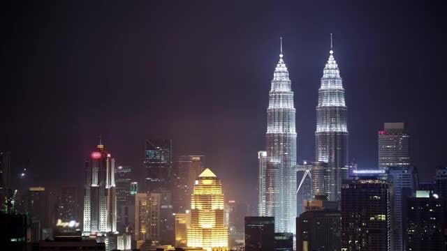 Illuminated Skyscrapers In Kuala Lumpur: Stock Video