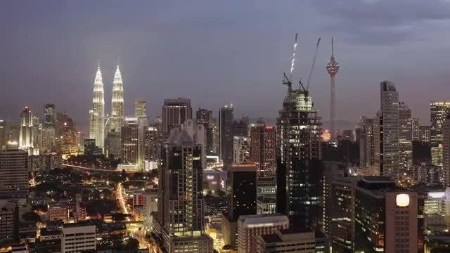 Night Falls In Urban Malaysia: Stock Video