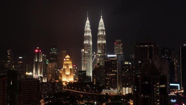 Night Fall In Kuala Lumpur: Stock Video