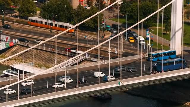 Traffic Flowing On Suspended Bridge: Stock Video