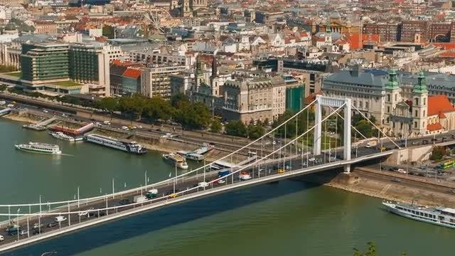 Elisabeth Bridge And Danube River In Budapest: Stock Video