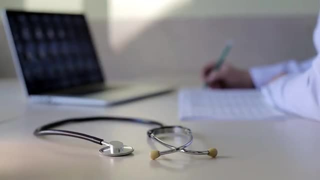 Close-up Shot Of Stethoscope: Stock Video