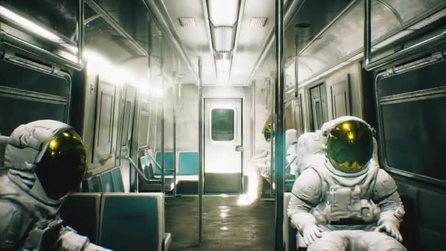 Suited Astronauts Ride The Train: Stock Motion Graphics