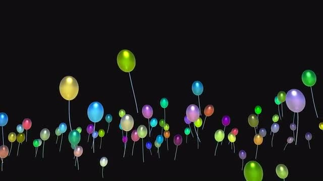 Multi-Colored Balloons Rising Up: Stock Motion Graphics