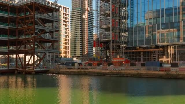 Busy Construction Site In London: Stock Video
