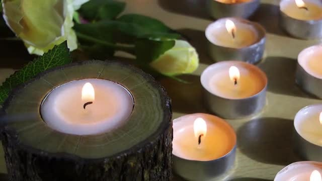 Tea Candles With Rose: Stock Video