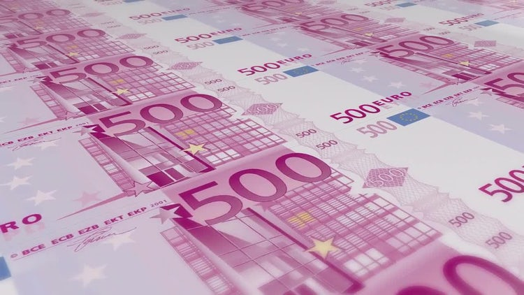 500 euro bills loop: Stock Motion Graphics