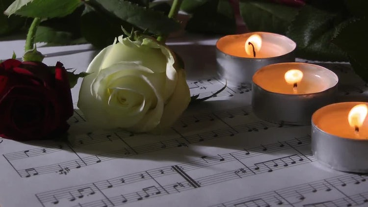 Tea Lights, Roses, And Music: Stock Video