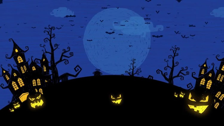 Cute Halloween Haunted Houses Background - Stock Motion ...