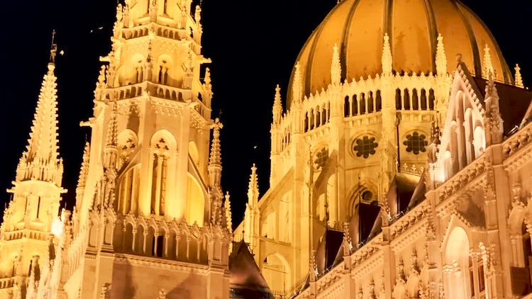 Nighttime Closeup Of Budapest Parliament: Stock Video