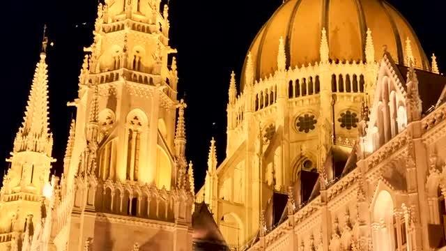 Nighttime Closeup Of Budapest Parliament: Stock Video
