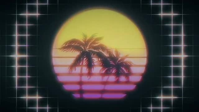 Retro Striped Sunset VJ Loop: Stock Motion Graphics