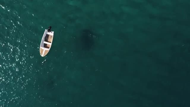 Overhead Shot of Fishing Boat: Stock Video
