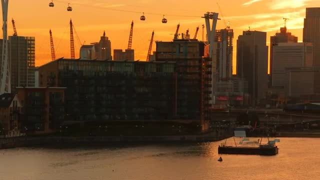 The Thames And Canary Wharf In London: Stock Video