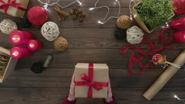Placing Gift Box On Table: Stock Video