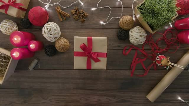 Done With Wrapping Christmas Gift: Stock Video