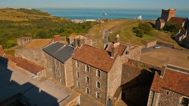 Aerial View Of Dover Castle: Stock Video